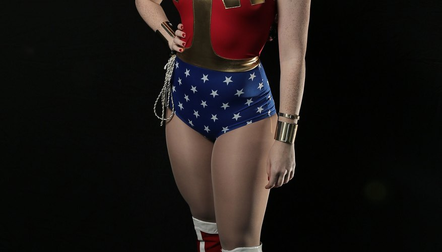 Make your own no-sew Wonder Woman costume.