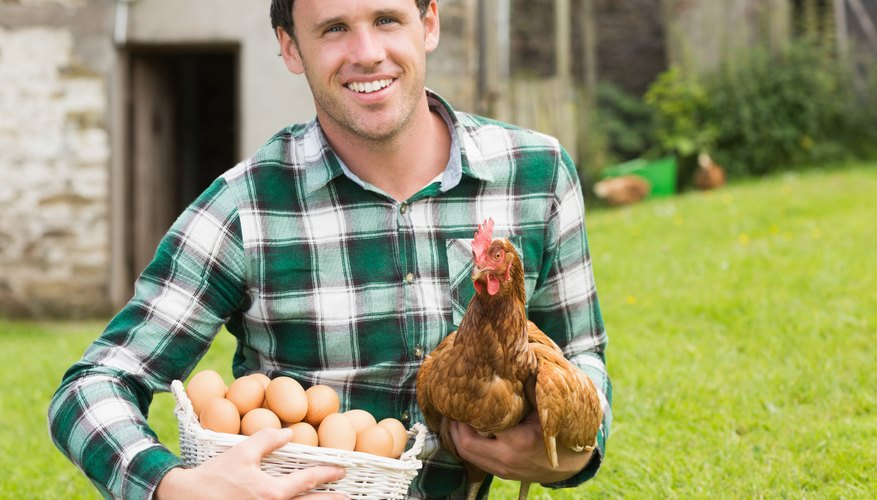 Happy young man holding his chicken and basket of eggs