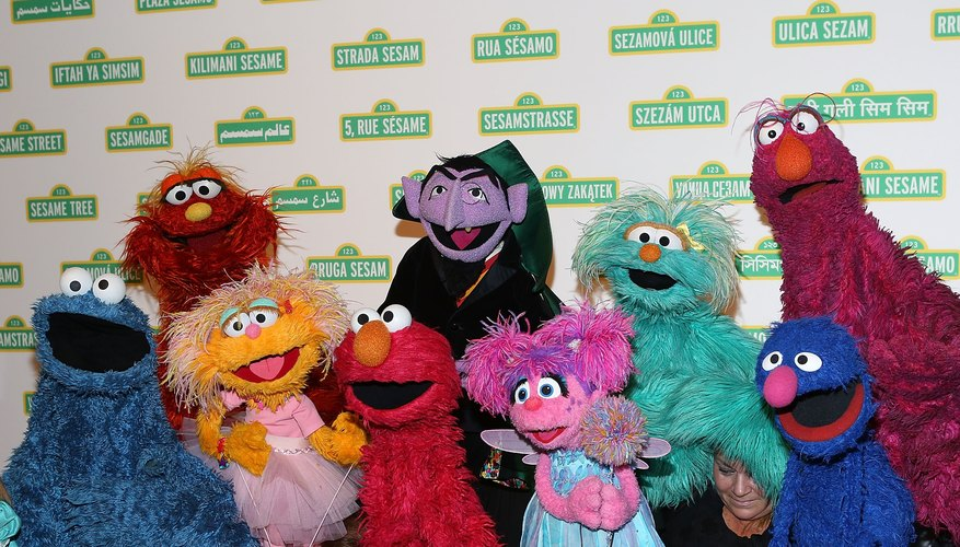 An assortment of characters from Sesame Street.