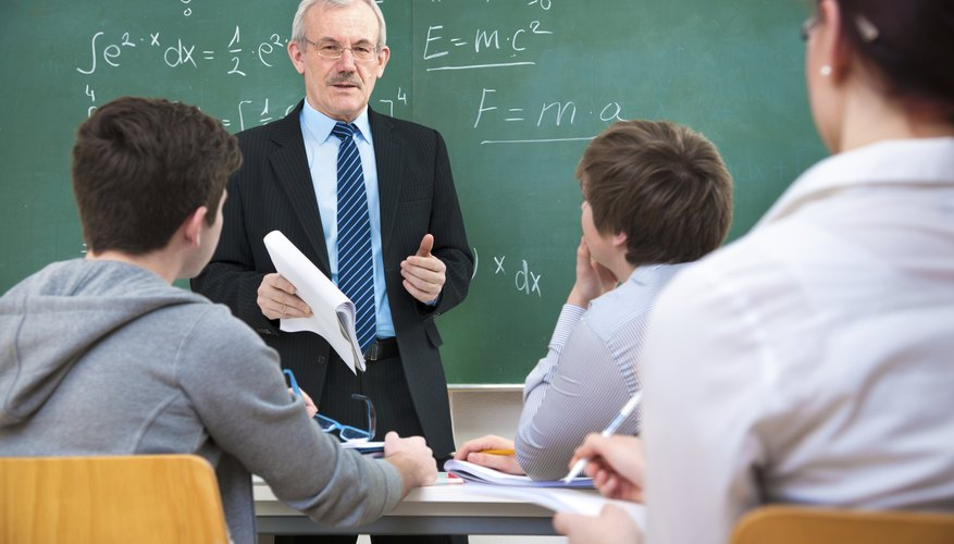 College students in math class with professor