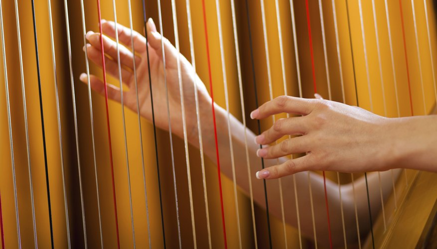 A harp's strings being plucked.