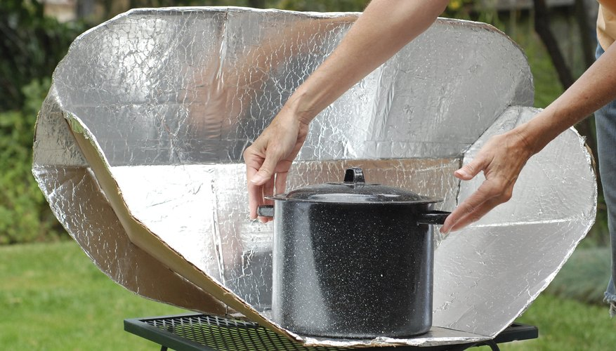 A pan in a solar oven.