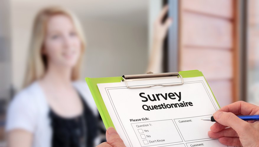 Girl Answering Market Research Survey Questions at the Door
