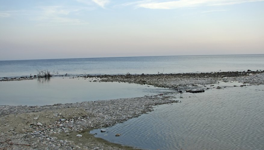 A delta on the shoreline.