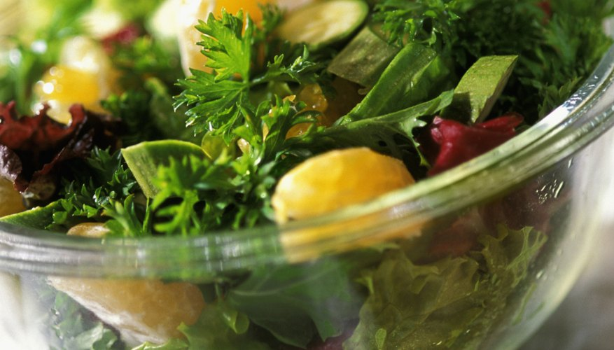 Close-up of a salad in a glass bowl
