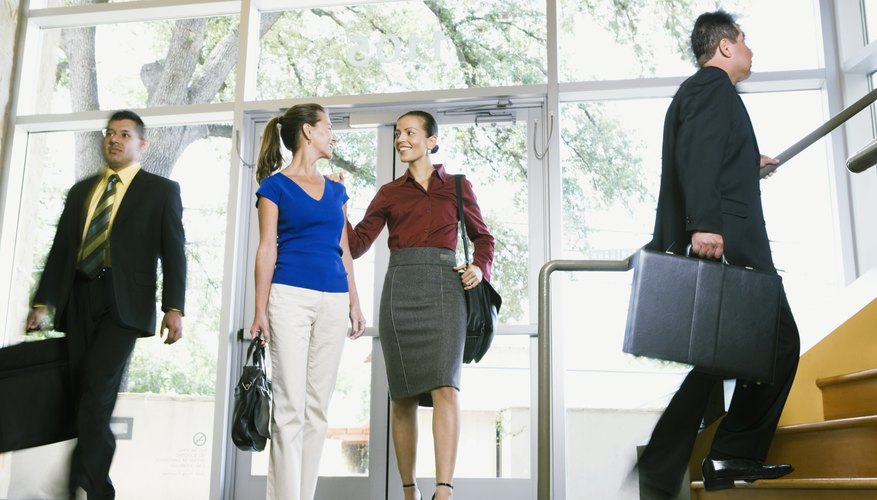 women arriving early at the workplace