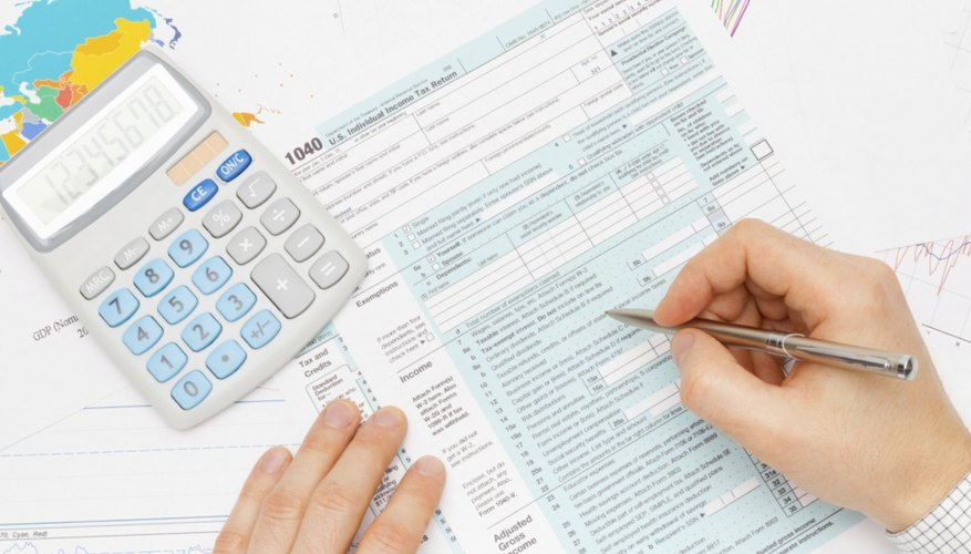 Filling out tax forms.