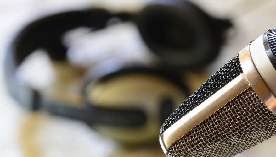 Vintage microphone with headphone