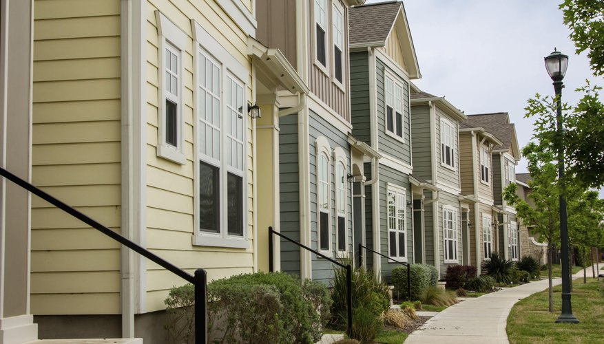 Townhouse condominiums with shared grounds.