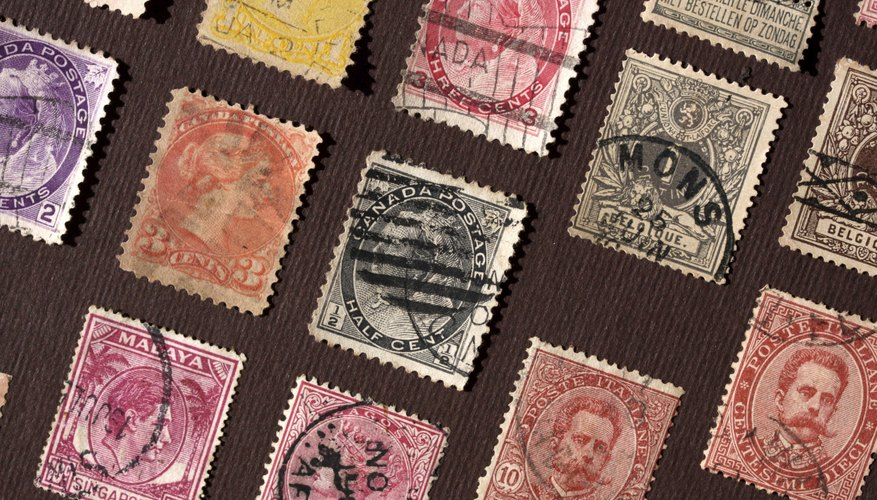 Old postal stamp album