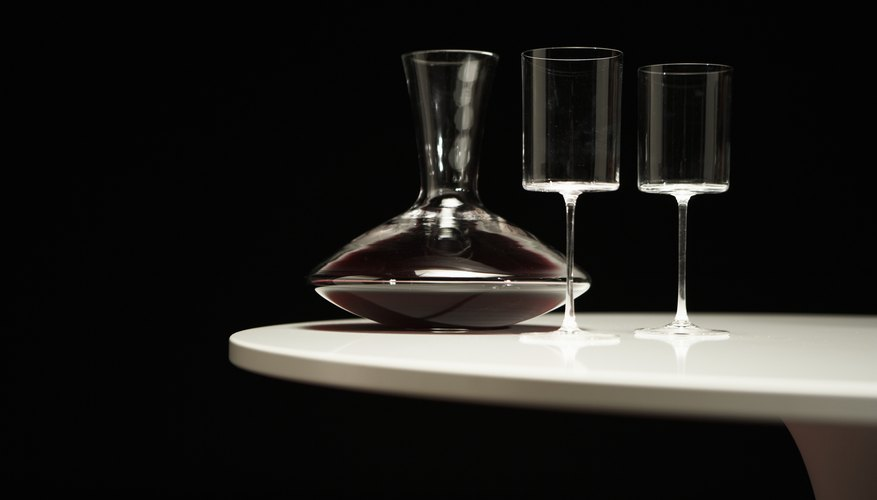 Decanter of red wine and two glasses