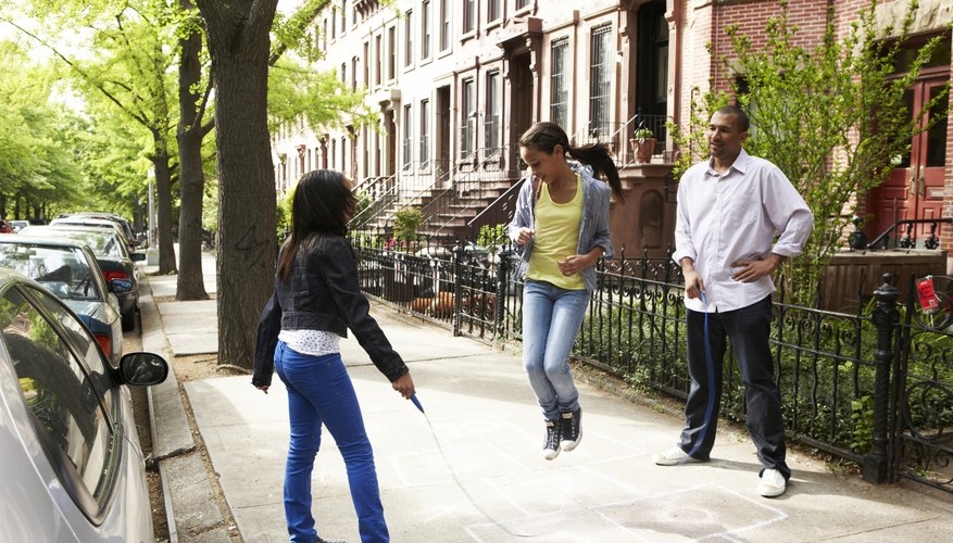 Jumping rope can be a family activity.