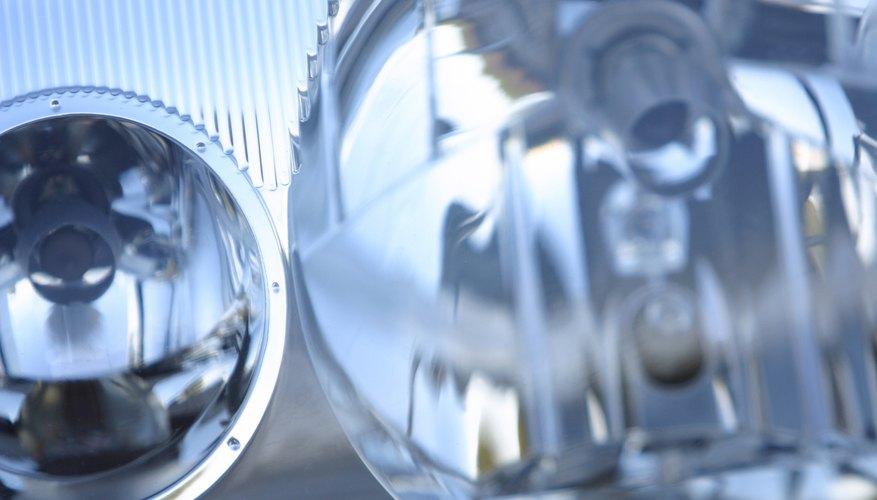 Car headlights close-up