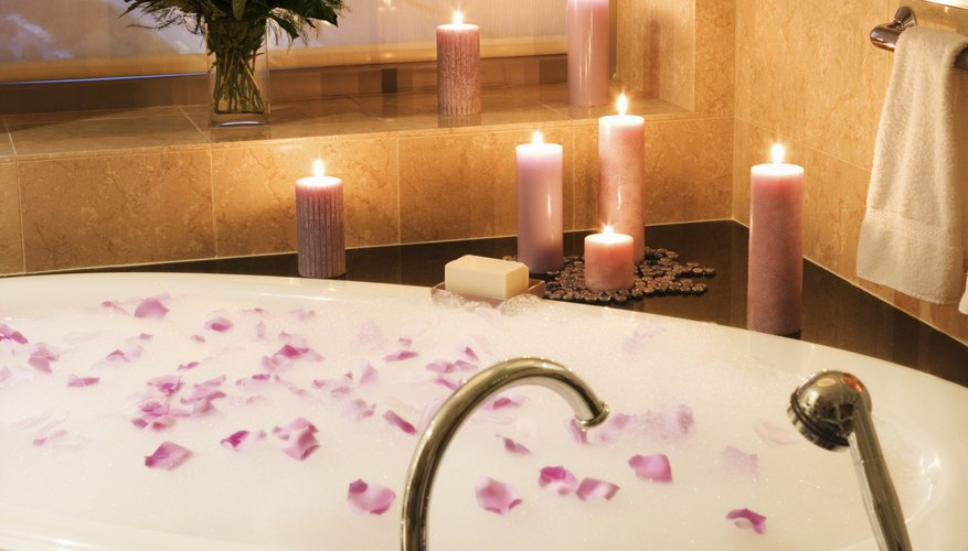 Turn an ordinary bathtub into a romantic one with some simple touches.