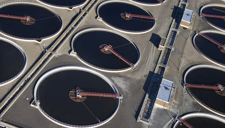 Aerial view of sewage treatment plant