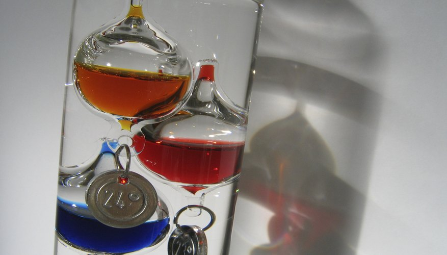 Close-up of Galileo thermometer