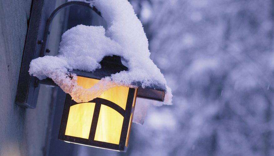 Snow on porch light