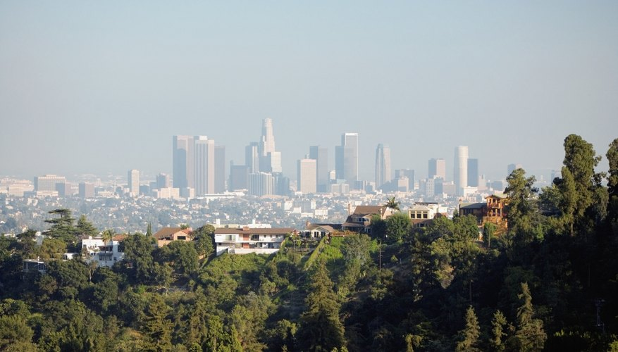 A view from the hills of smog over Los Angeles, CA.