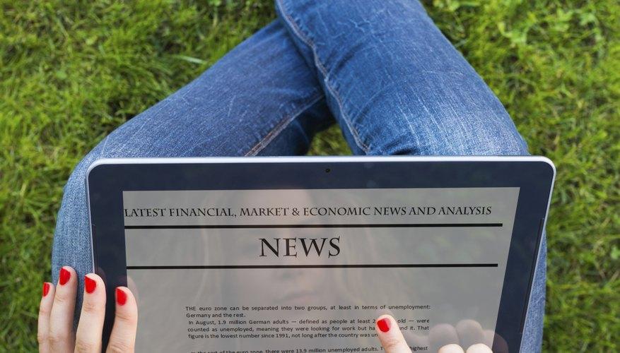 Reading news on digital tablet