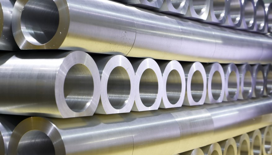 A stack of steel pipes.