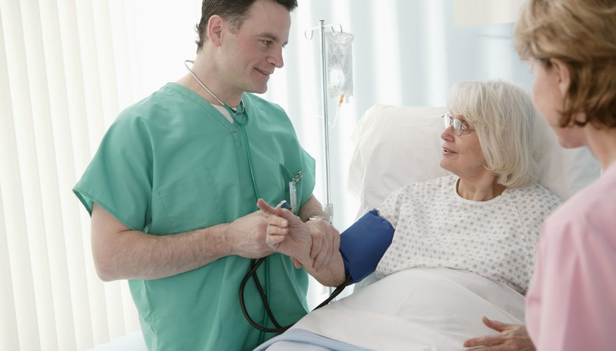 Doctor with senior in hospital