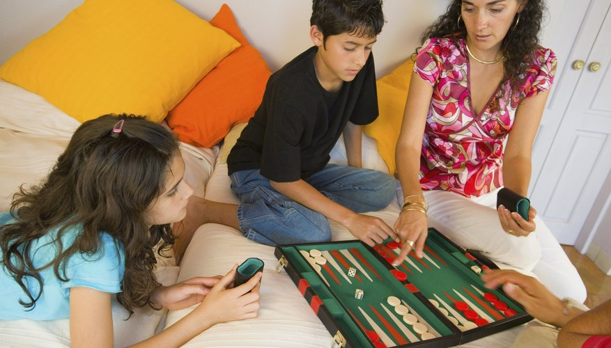 Family playing board game.