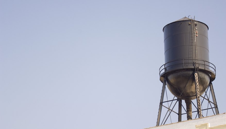 Water tank on building rooftop