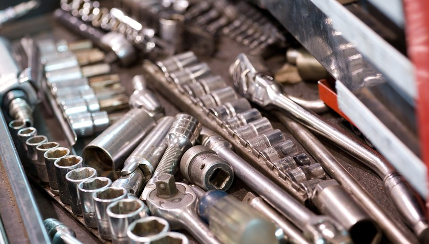 Ratchets and wrenches in drawer of toolbox