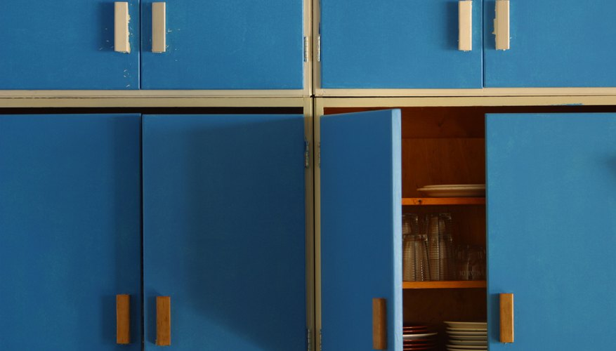 Blue kitchen cabinets.