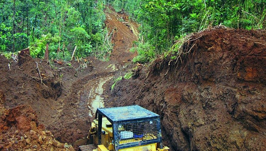Bulldozer at work,Solomon Islands