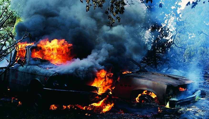 How an auto policy covers fire damage depends on what burned.