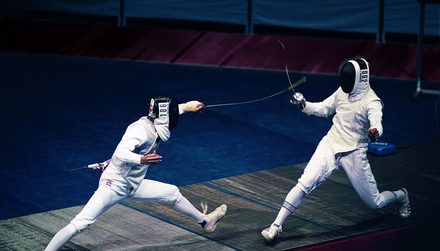 Your child will wear protective face gear similar to what professional fencers wear.