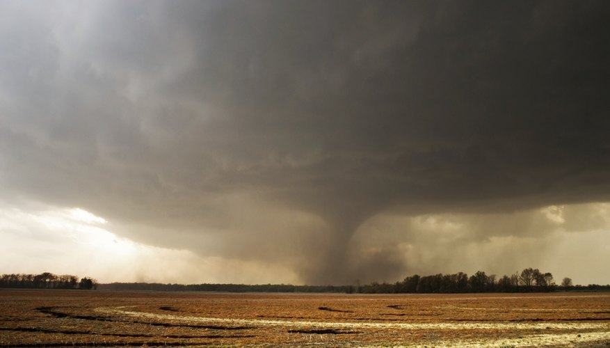 A tornado in a field.