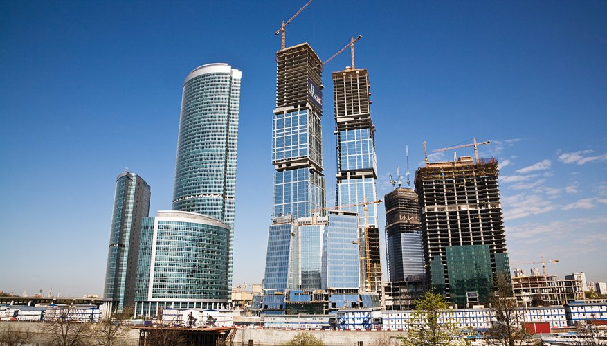 modern skyscrapers under construction