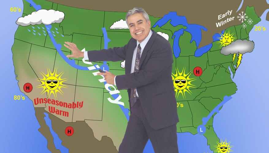 A television weatherman explains the movement of high and low pressure systems.