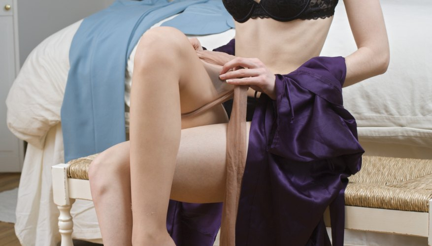 Nylon stockings provide an alternative to expensive silk.