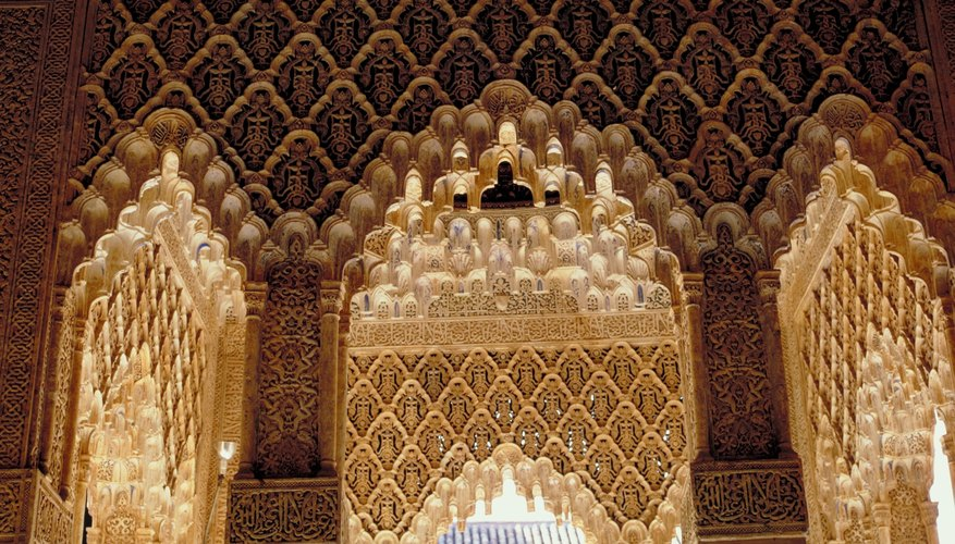 Arcades in the Alhambra palace in Granada, Spain, are intricate molds of gypsum.