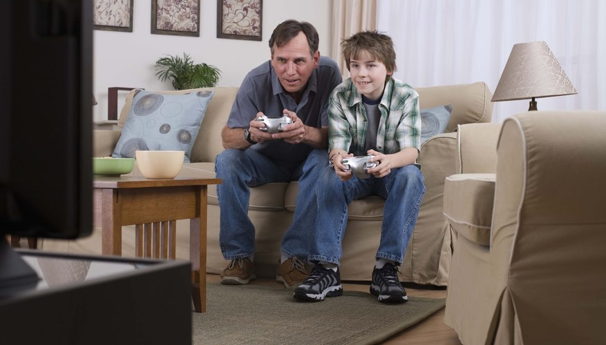 Family playing video games