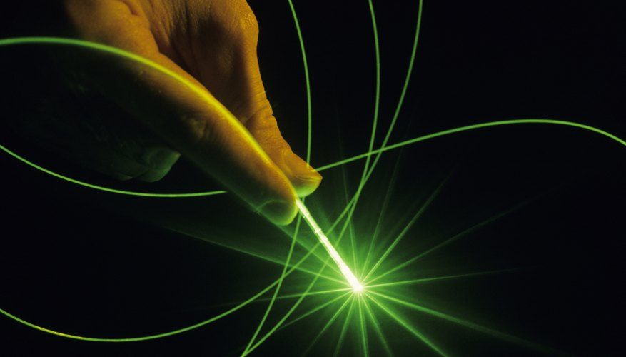 A fiber optic cable and laser beam.