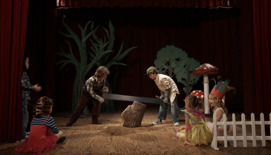 Fake Rocks Enhance An Outdoor Scene For A Play