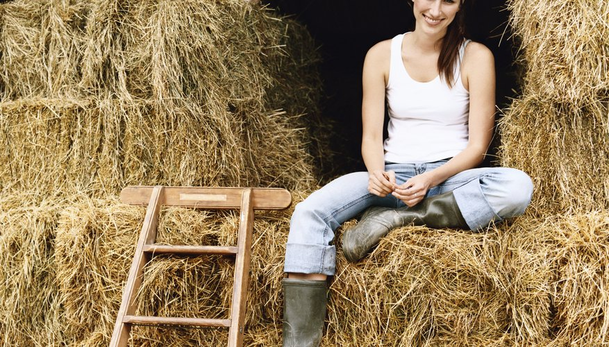 Young Woman Sitting on Bales of Hay in a Barn on a Farm