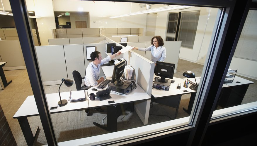 Executives working in office, elevated view