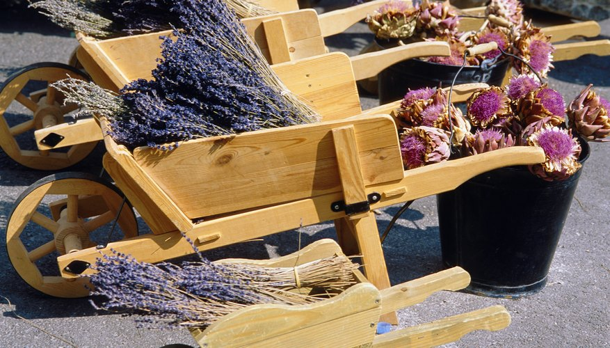 Put fresh or dried flowers in your garden wheelbarrow.