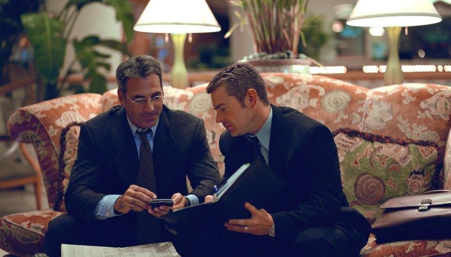 Businessmen in hotel lobby