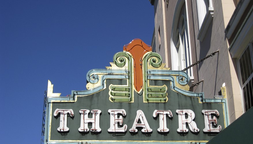 Vintage movie theater marquee sign