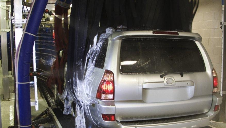 SUV in car wash