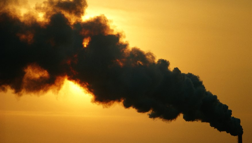Factory emissions can contribute carbon and toxic chemicals to the air.