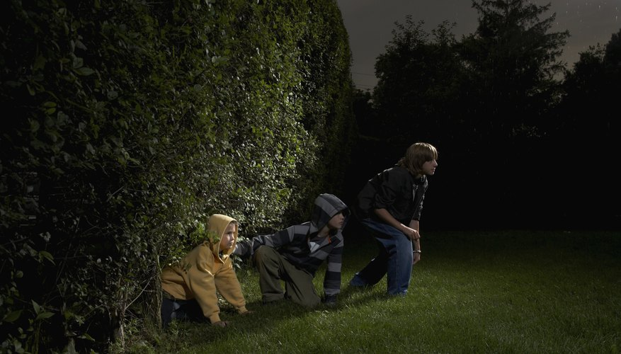 Kids can have a blast in the backyard at night.