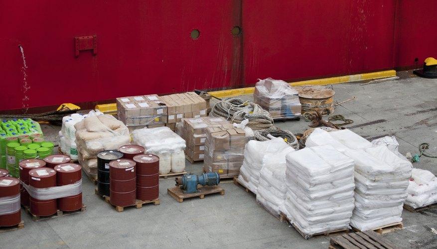 Break-bulk items in a shipping yard.