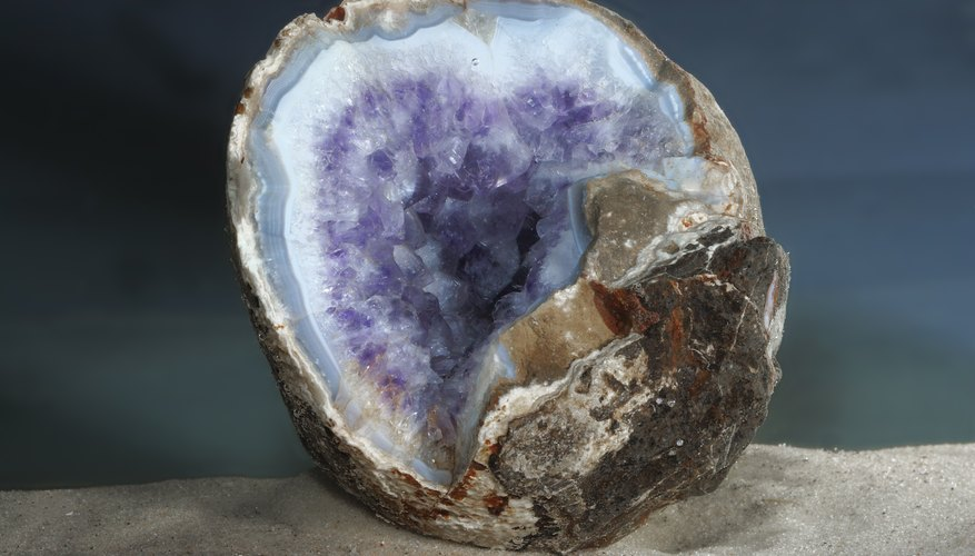 A split open geode rock.